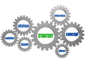 Strategy and business concept words in silver grey gearwheels — Stock Photo