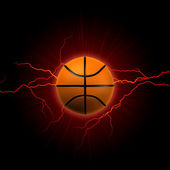 Basketball with red lightning — Stock Photo