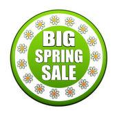 Resorte grande la etiqueta de venta círculo verde con flores — Foto de Stock