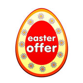 Easter offer in red egg shape label with flowers — Stock Photo