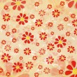 Vintage red flowers over old paper background — Stock Photo