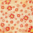 Vintage red flowers over old paper background - Stock Photo