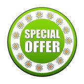Etiqueta círculo verde oferta especial de primavera con flores — Foto de Stock
