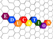Education in color hexagons in cellular structure — Stock Photo