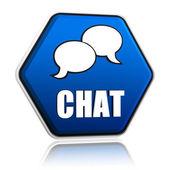 Chat met spraak bubbels teken in blauwe zeshoek knop — Stockfoto