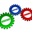 Assistance, support, guidance in color gearwheels — Stock Photo