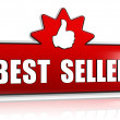 Best seller and thumb up sign in 3d red banner with star — Stock Photo #22767590