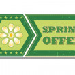 Spring offer with flower - retro green label — Stock Photo