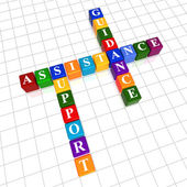 Assistance, support, guidance in color cubes crossword — Stock Photo