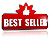 Best seller and thumb up sign in 3d red banner with star — Stock Photo