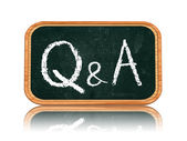 Q&A - questions and answers on blackboard banner — Stock Photo