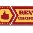 Stock Photo: Best choice and thumb up sign - retro label