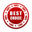 Stock Photo: Best choice 100 percentages in white red circle label