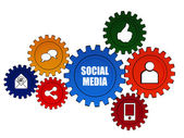 Social media and it signs in color gears — Stock Photo
