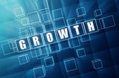Growth in blue glass cubes — Stock Photo