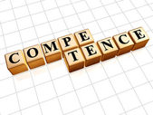 Competence in golden cubes — Stock Photo