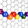 Coaching in color hexagons in cellular structure - Stock Photo