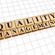 Quality management in golden cubes — Stock Photo