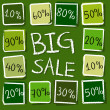 Big sale and percentages in squares - retro green label — Foto de Stock
