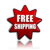 Free shipping in red star banner — Stock Photo