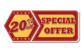 20 percentages off special offer - retro label — Stock Photo