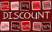 Discount and percentages in squares - retro red label — Stock Photo
