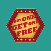 Buy one get one free - retro label — Stock Photo