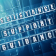 Royalty-Free Stock Photo: Assistance, support, guidance in blue glass cubes