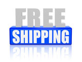 Free shipping in 3d letters and block — Stock Photo