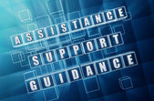 Assistance, support, guidance in blue glass cubes — Stock Photo