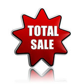 Total sale in red star banner — Stockfoto