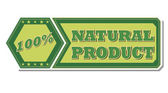100 percentages natural product - retro green label — Stock Photo