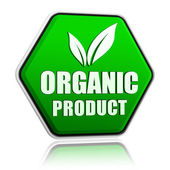 Organic product with leaf sign in green button — Stock Photo