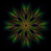 Brillante verde, flor, luces de arco iris en círculos — Foto de Stock
