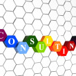 Consulting in color hexagons in cellular structure — Stock Photo #24018311
