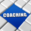 Word coaching in blue boxes — Stock Photo #24018315