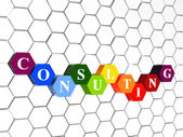 Consulting in color hexagons in cellular structure — Stock Photo