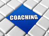 Word coaching in blue boxes — Stock Photo