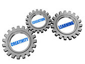 Creativity, education, learning in silver grey gears — Stock Photo