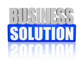 Business solution in 3d letters and block — Stock Photo