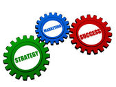 Strategy, marketing and success in color gears — Stock Photo