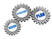 Vision, stratégie, plan en engrenages gris argent — Photo