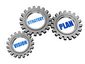 Vision, strategy, plan in silver grey gears — Stock Photo