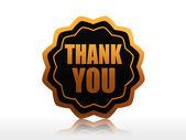 Thank you in golden black star label — Stock Photo
