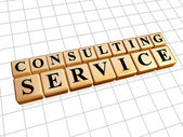 Consulting service in golden cubes — Stock Photo