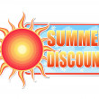 Summer discount in label with sun - Stock Photo