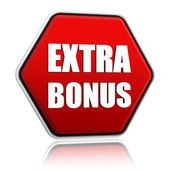 Extra bonus in red hexagon banner — Stock Photo