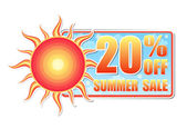 20 percentages off summer sale in label with sun — Stock Photo