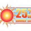 25 percentages off summer sale in label with sun — Stock Photo