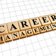 Career management in golden cubes - Stock Photo